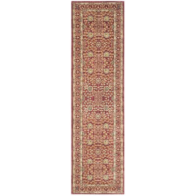 Valencia Red/Red Area Rug Rug Size: Runner 2'3