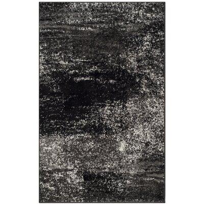Adirondack Black, Silver/White Area Rug Rug Size: 3' x 5'