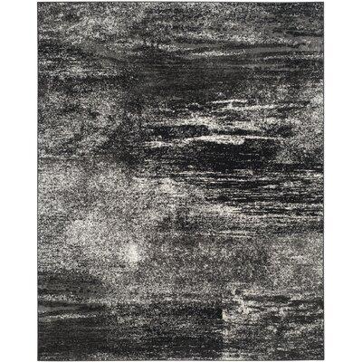 Adirondack Black, Silver/White Area Rug Rug Size: 10' x 14'