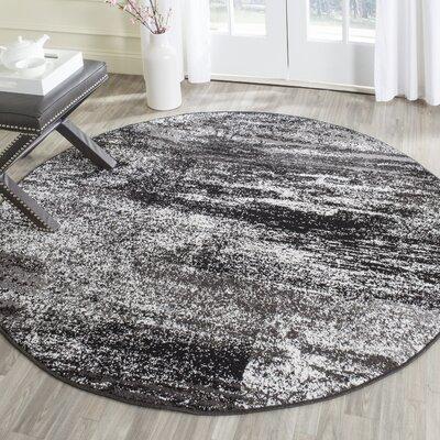 Adirondack Black, Silver/White Area Rug Rug Size: Round 10'