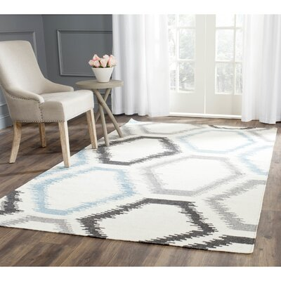 Dhurries Wool Ivory Area Rug Rug Size: Rectangle 4 x 6