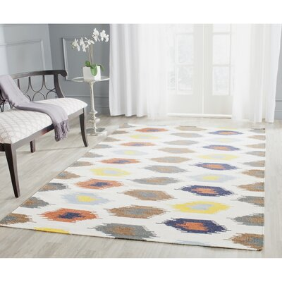Dhurries Cotton/Wool Ivory Area Rug Rug Size: Rectangle 5 x 8