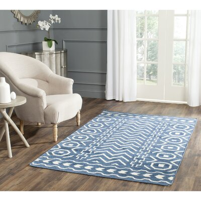 Dhurries Dark Blue/Ivory Area Rug Rug Size: Square 6