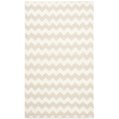 Dhurries Wool Beige/Ivory Area Rug Rug Size: Rectangle 6 x 9