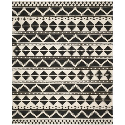 Dhurries 100 Black/Ivory Area Rug Rug Size: Rectangle 5 x 8