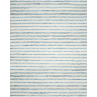 Dhurries Wool Aqua/Ivory Area Rug Rug Size: Rectangle 6 x 9