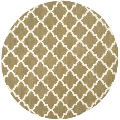 Dhurries Green / Ivory Area Rug Rug Size: Round 6