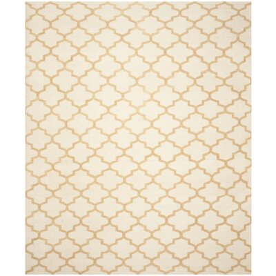 Dhurries Ivory / Gold Area Rug Rug Size: 5 x 8