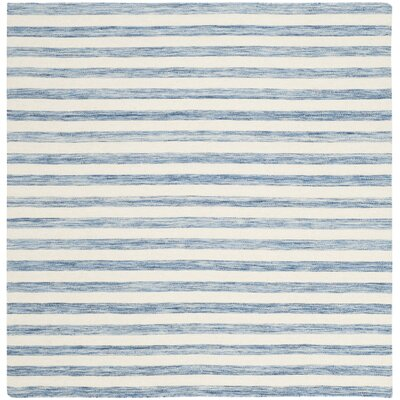 Dhurries Blue & Ivory Area Rug Rug Size: Square 6