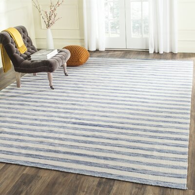 Dhurries Cotton Blue/Ivory Area Rug Rug Size: Runner 26 x 10