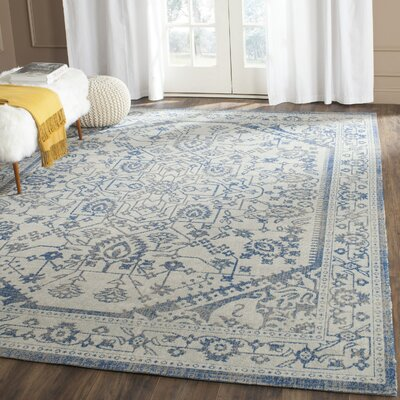 Patina Light Gray & Blue Area Rug Rug Size: 4 x 4