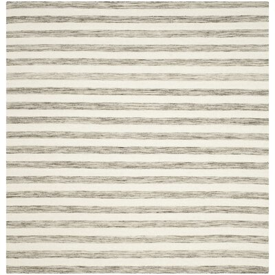 Dhurries Brown / Ivory Area Rug Rug Size: Square 6