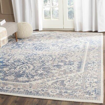 Rhodes Gray/Blue Area Rug Rug Size: Square 4 x 4