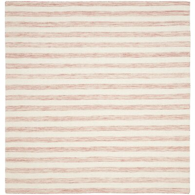 Dhurries Rust / Ivory Area Rug Rug Size: Square 6