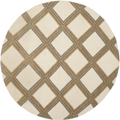 Dhurries 100 Ivory / Gold Area Rug Rug Size: Round 6