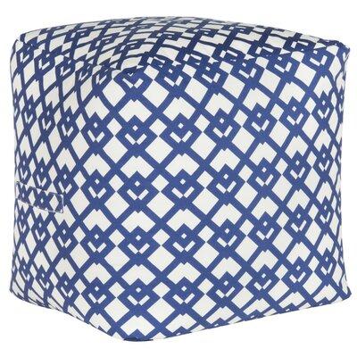 Venetian Pouf Ottoman Upholstery: Blue/White