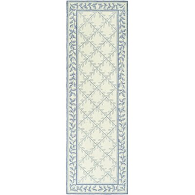 DuraRug Hand-Woven Ivory/Light Blue Area Rug Rug Size: Runner 26 x 10