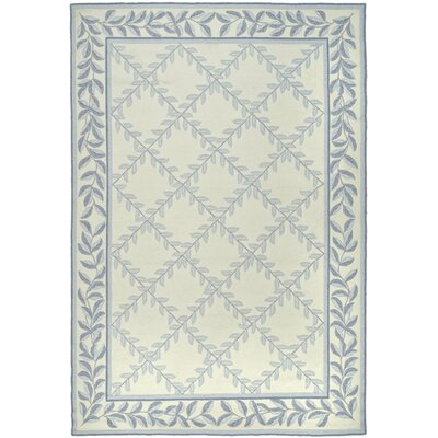 DuraRug Hand-Woven Ivory/Light Blue Area Rug Rug Size: Rectangle 4 x 6