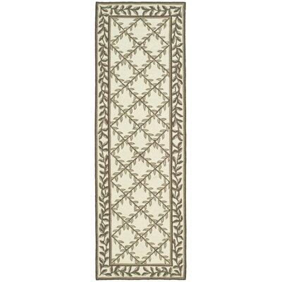 DuraArea Hand-Woven Rug Ivory/Sage Area Rug Rug Size: Runner 26 x 10
