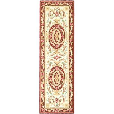 DuraArea Rug Ivory/Burgundy Area Rug Rug Size: Runner 26 x 10