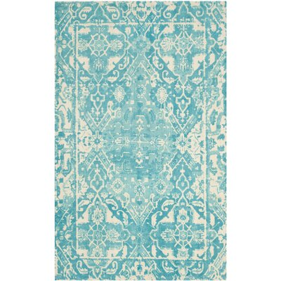 Restoration Vintage Hand-Tufted Light Blue/Ivory Area Rug Rug Size: 2 x 3