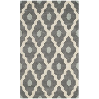 Wilkin Dark Gray/Ivory Moroccan Area Rug Rug Size: Rectangle 3 x 5