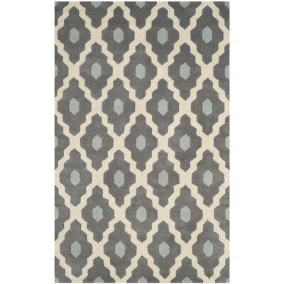 Wilkin Dark Gray/Ivory Moroccan Area Rug Rug Size: Rectangle 5 x 8