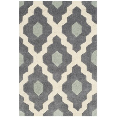 Wilkin Dark Gray/Ivory Moroccan Area Rug Rug Size: Rectangle 89 x 12