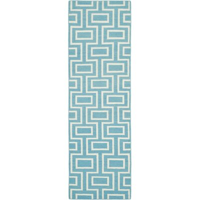 Dhurries Hand-Woven Wool Light Blue Area Rug Rug Size: Runner 26 x 8