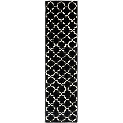Dhurries Hand-Woven Wool Black/Ivory Area Rug Rug Size: Runner 26 x 6