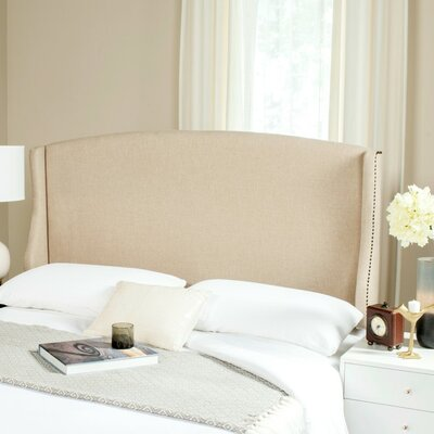 Hattiesburg Upholstered Wingback Headboard Size: Twin, Color: Hemp, Upholstery: Linen