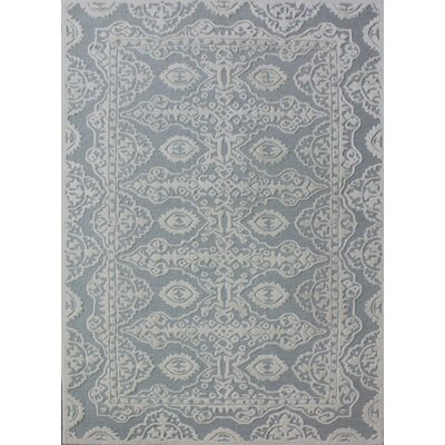 Bella Hand-Tufted Gray/Ivory Area Rug Rug Size: 2'6