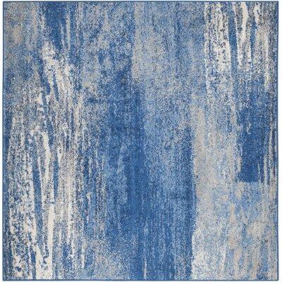 Costa Mesa Silver/Blue Area Rug Rug Size: Square 6