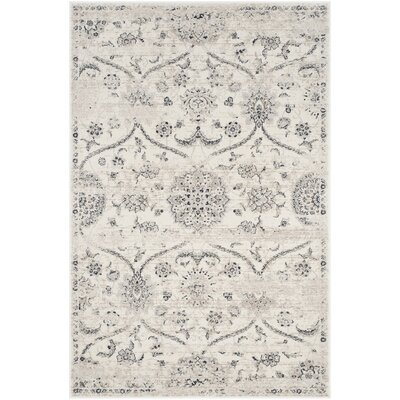 Joana Cream/Light Gray Area Rug Rug Size: 4 x 6