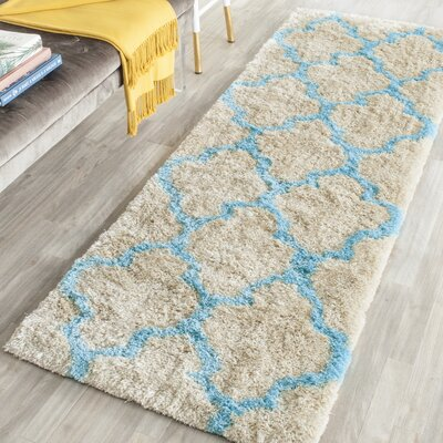 Barcelona Cream/Blue Area Rug Rug Size: Runner 23 x 7