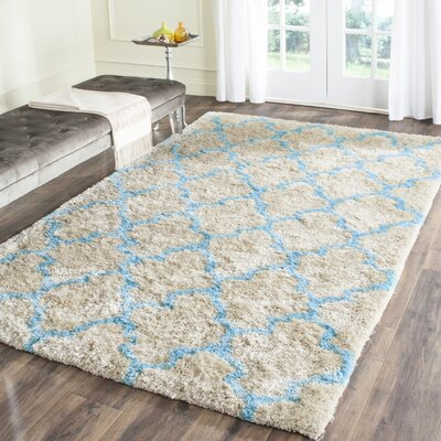 Barcelona Cream/Blue Area Rug Rug Size: 9 x 12