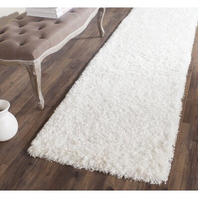 Chesa Hand-Tufted/Hand-Hooked White Area Rug Rug Size: Runner 23 x 7