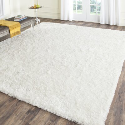 Malibu Hand-Tufted White Area Rug Rug Size: Square 5