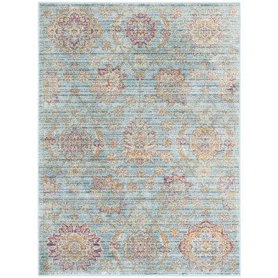 Sasha Blue/Orage Area Rug Rug Size: Rectangle 4 x 57