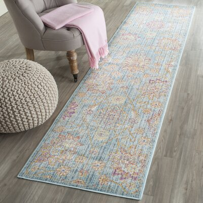 Sasha Blue/Orange Area Rug Rug Size: Runner 21 x 6