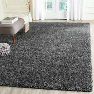 Shag Handmade Dark Gray Area Rug Rug Size: Square 4'