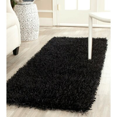 Paris Handmade Black Area Rug Rug Size: 4 x 6