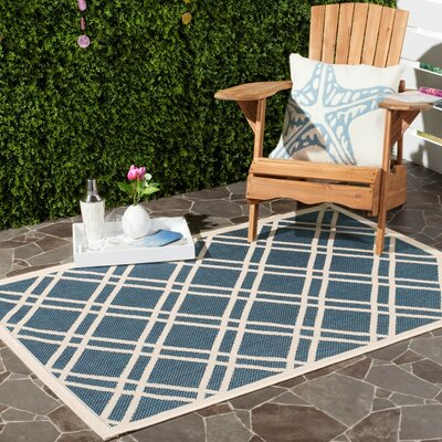 Short Ivory/Blue Indoor/Outdoor Area Rug Rug Size: Rectangle 4 x 57