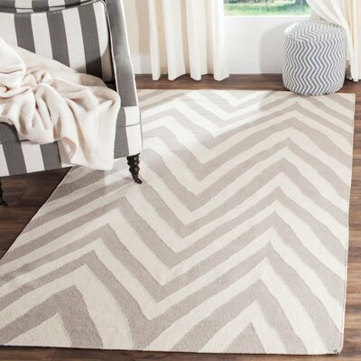 Dhurries Wool Gray/Ivory Area Rug Rug Size: Rectangle 26 x 4