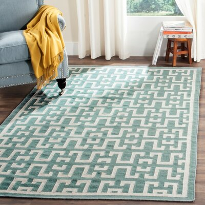 Hand-Woven Wool Seafoam/Ivory Area Rug Rug Size: Rectangle 5 x 8