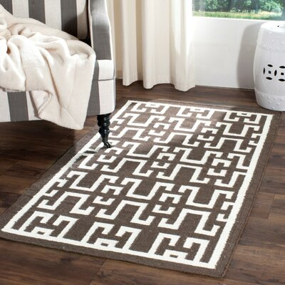 Dhurries Wool Brown/Ivory Area Rug Rug Size: Runner 26 x 10