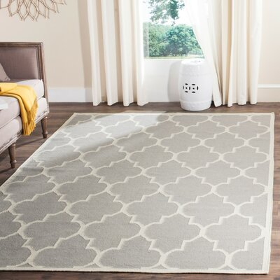 Dhurries Grey/Ivory Area Rug Rug Size: 6 x 9
