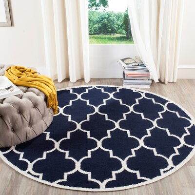Dhurries Navy/Ivory Area Rug Rug Size: Rectangle 8 x 10