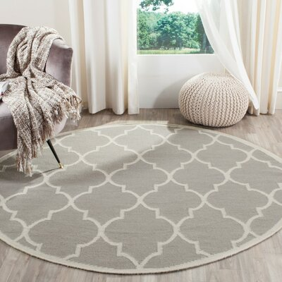 Dhurries Dark Grey/Ivory Area Rug Rug Size: 8 x 10