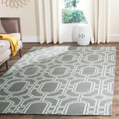 Dhurries Grey/Light Blue Area Rug Rug Size: 6 x 9